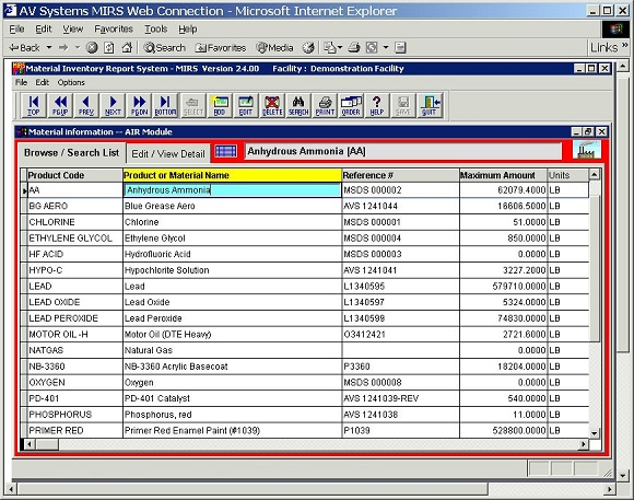 MIRS Online software screenshot